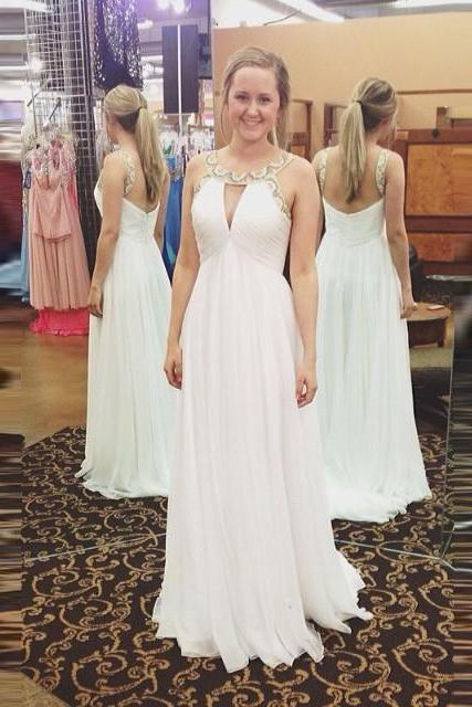Ivory Beaded Jewel Neck Low Back Chiffon Prom Dress With Cut Out Bodice