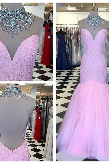 Beaded Illusion High Neck Pink Lace Mermaid Prom Dress With Open Back
