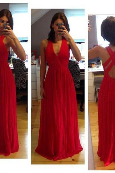 2016 Red V Neck Chiffon Floor Length Formal Gown With Cross Open Back