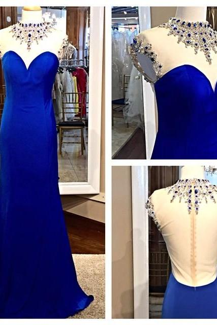 Fitted Royal Blue Beaded Illusion High Neck Prom Gown With Sheer Back