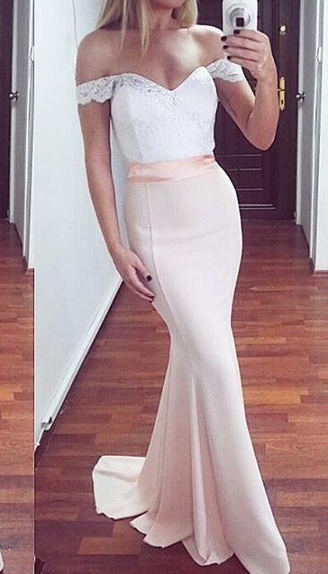 Lace / Satin Off The Shoulder Mermaid Formal Gown , Prom Dress , Homecoming Dress