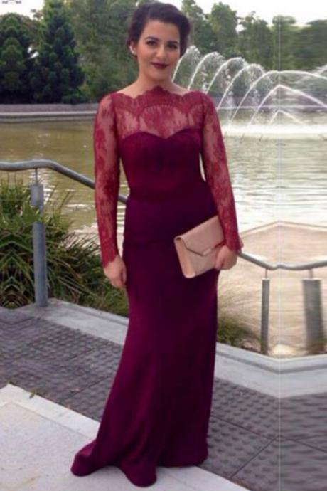 Burgundy Fitted Formal Evening Gown With Sheer Long Sleeves , Covered Button Back