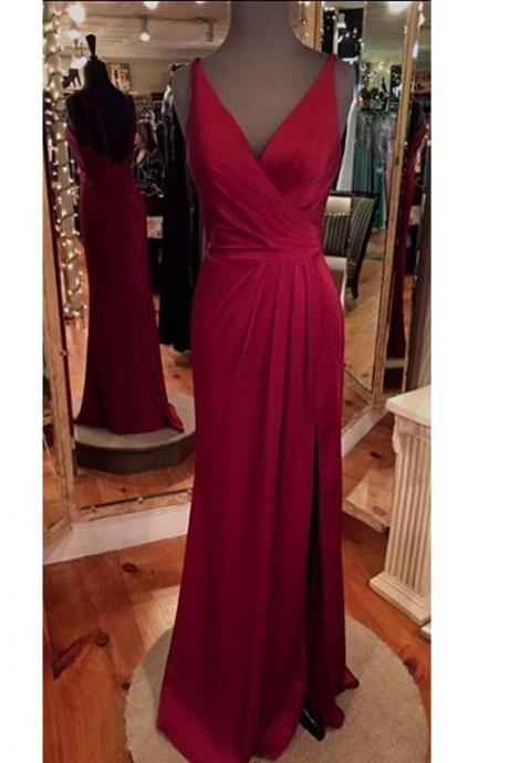 Gorgeous Wine Red V Neck Chiffon Open Back Prom Dress With Side Slit