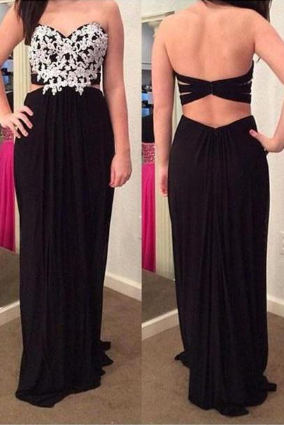 Chiffon Black Sweetheart Cut Out Back Prom Dress With Lace Appliques Bodice