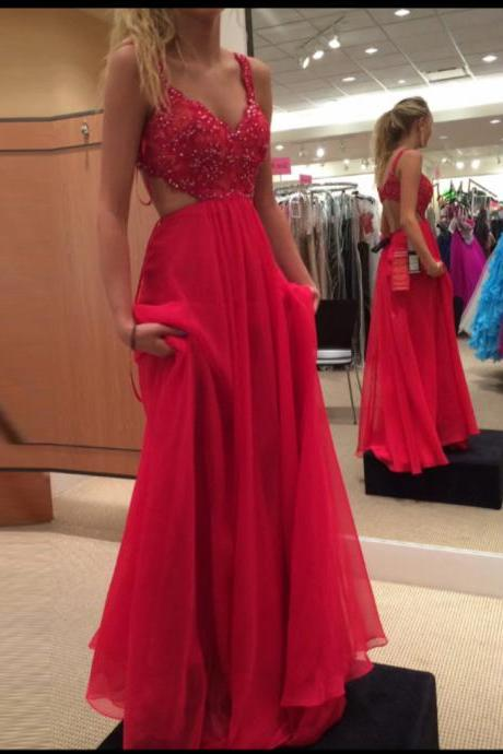 Red Sweetheart Straps Beaded Bodice Chiffon Prom Dress With Cut Out Back