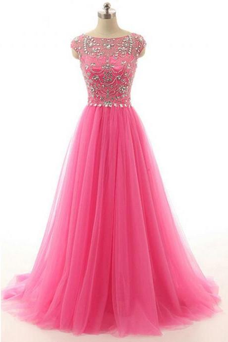 Rose Pink Cap Sleeves Tulle Prom Gown With Beaded And Crystals Bodice