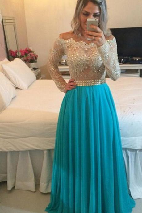 Beaded Off The Shoulder Long Sleeves Prom Dress With Sheer Back
