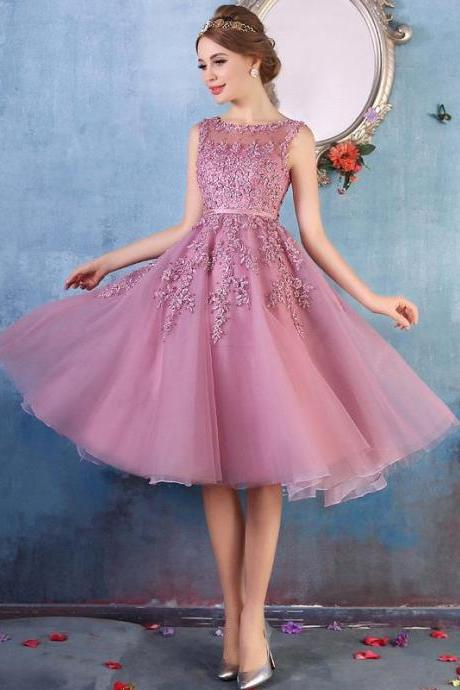 Suede Rose Illusion Tulle Sheer Back Cocktail Party Dress With Beaded Lace Appliques