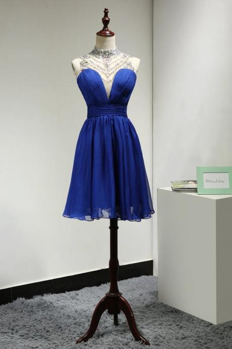Beaded Illusion High Neck Royal Blue Cocktail Dress With Keyhole Open Back