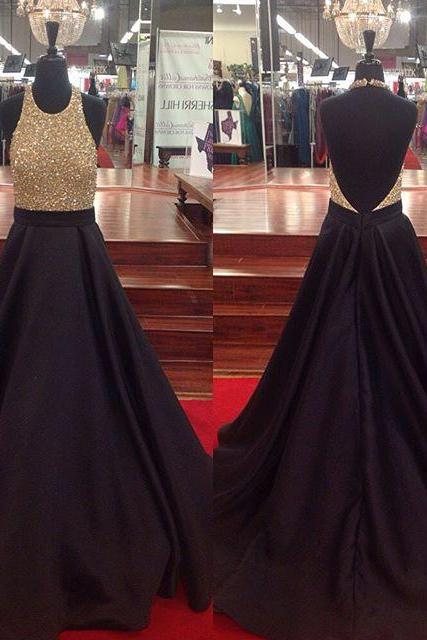 2016 Black Halter Satin A Line Open Back Prom Gown With Full Beaded Bodice