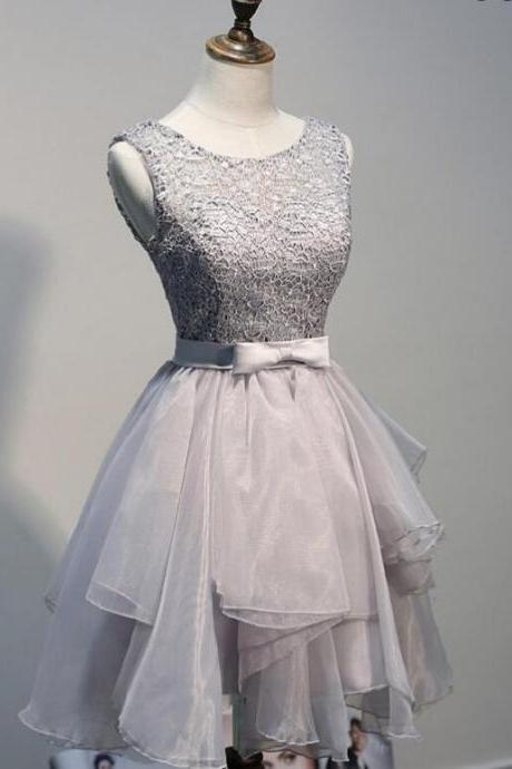 Silver Grey Layered Tulle Skirt Cocktail Dress, Short Party Dress With Lace Bodice