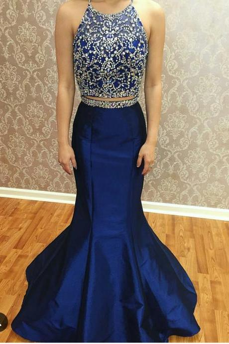 Blue Two Piece Taffeta Mermaid Prom Dress, Evening Gown With Beaded Crop Top