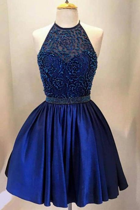 Navy Blue Halter Satin A Line Homecoming Dress, Cocktail Dress With Beaded Top