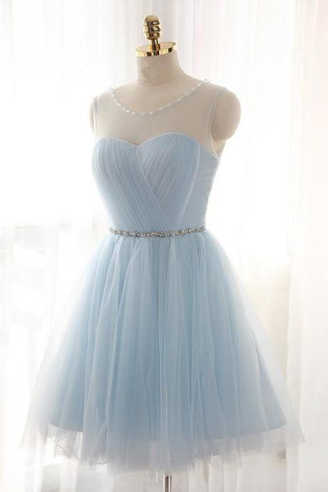 Light Blue Tulle Illusion Cocktail Dress , Short Party Dress With Keyhole Back