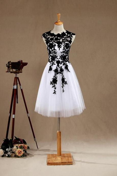 White Tulle Cocktail Dress , Short Party Dress With Black Lace Appliques