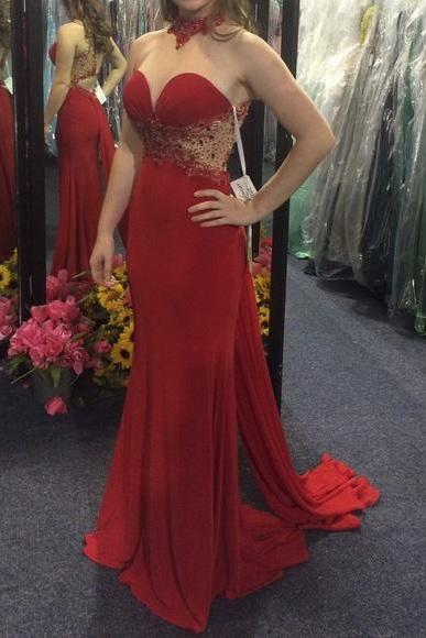 Beaded Red Illusion High Neck Fitted Jersey Prom Dress, Evening Gown Cut Out Waist