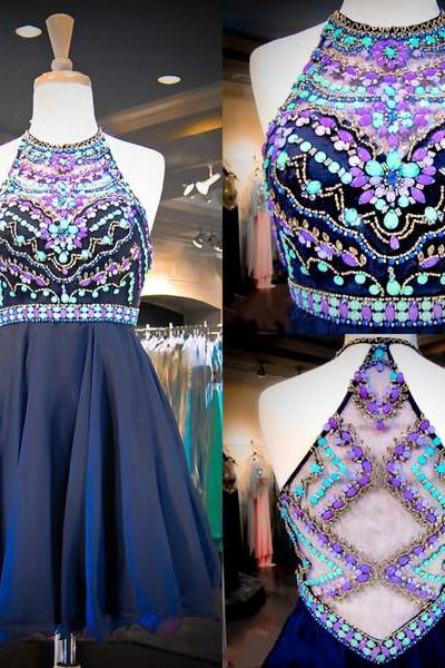 Navy Blue Halter Chiffon Cocktail Dress ,Homecoming Dress With Colorful Crystals
