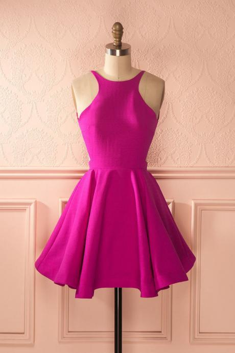Fuchsia Open Back Cocktail Dress, Homecoming Dress With Cut-in Shoulders