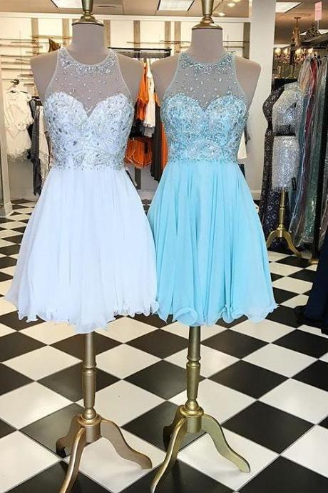 Beaded Sleeveless Illusion Cocktail Dress, Homecoming Dress With Keyhole Back