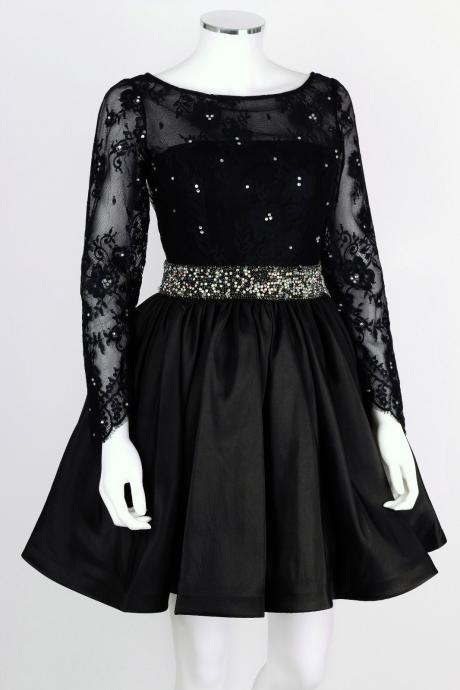 Black Long Sleeve Backless Cocktail Dress, Homecoming Dress Beaded Waist