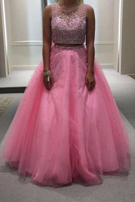 Beaded Pink Tulle Two Piece Ball Gown Prom Dress With Open Back