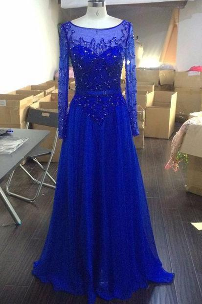Beaded Royal Blue Illusion Long Sleeve Prom Gown , Evening Dress Sheer Back