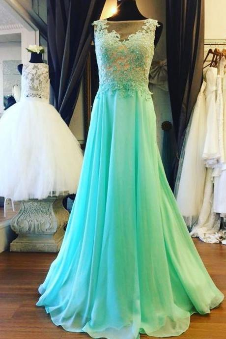 Mint Green Illusion Sheer Back Prom Dress , Formal Gown With Lace Appliques