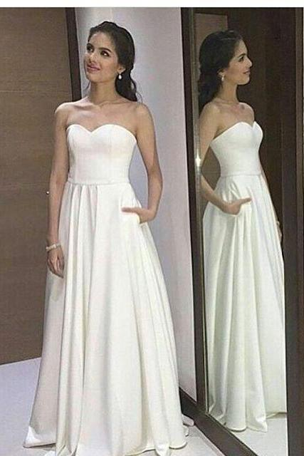 Ivory Strapless A Line Prom Dress, Formal Gown, Evening Dress With Pockets