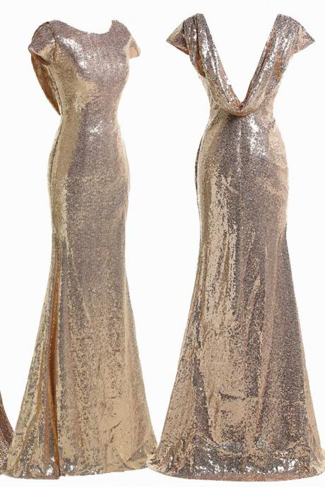 Gold Sequin Cap Sleeve Mermaid Bridesmaid Gown , Prom Dress Low Back