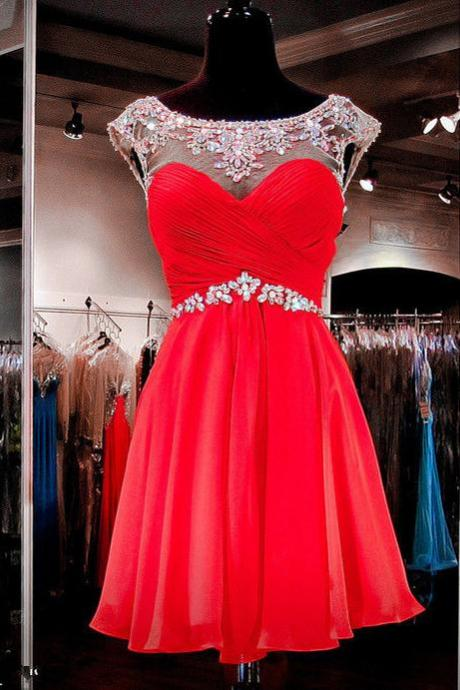 Red Chiffon Cap Sleeves Beaded Sweetheart Cut Out Short Prom Dress, Formal Gown,Cocktail Dresses