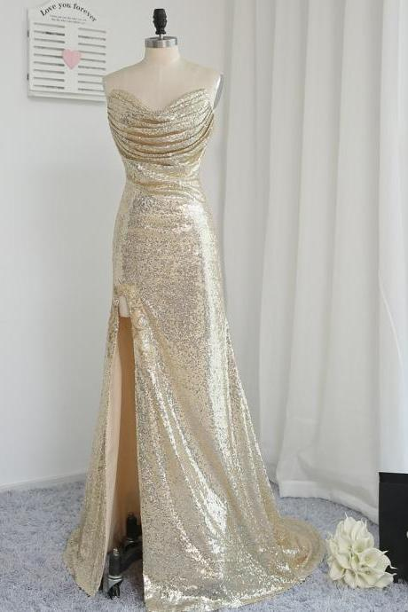 Fitted Gold Sequin Strapless Slit Prom Dress, Evening Gown Ruched Bodice