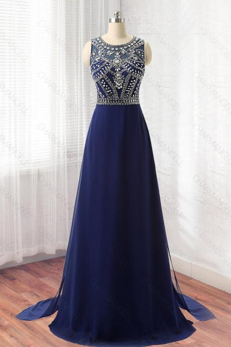 Beaded Navy Blue Chiffon Prom Dress,Evening Gown, Long Dress Sheer Back