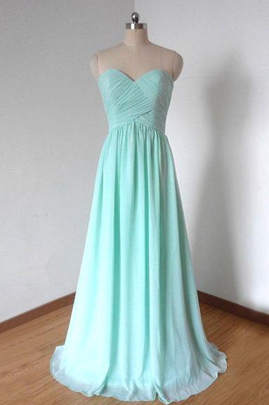 Light Blue Chiffon Sweetheart Strapless Long Bridesmaid Dress, Formal Gown Beaded Bodice, Prom Dresses