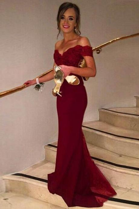 Burgundy Sweetheart Lace Bodice Jersey Off-The-Shoulder Cap Sleeves Long Prom Dress, Sweep Train Bridesmaid Dresses, Dark Red Formal Dresses