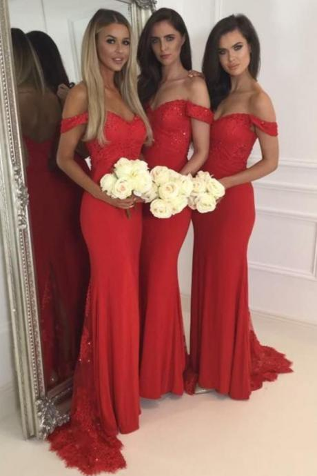 Red Jersey Lace Off The Shoulder Sweetheart Cap Sleeves Mermaid Sweep Train Bridesmaid Dresses, Red Prom Dresses