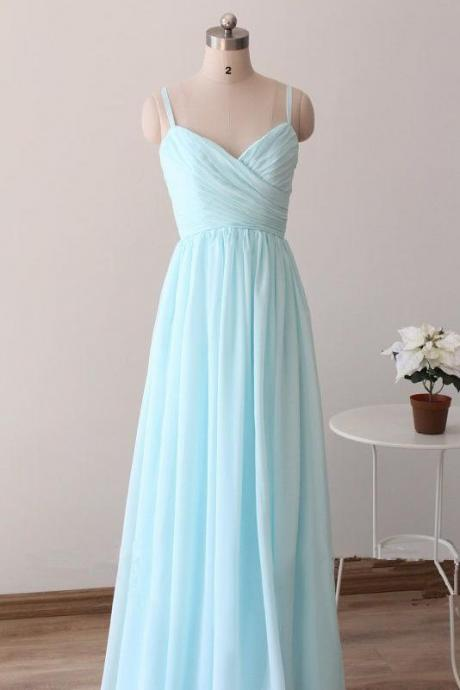 Custom Made Light Blue/Baby Blue Chiffon Sweetheart Spaghetti Strap Long Bridesmaid Dress, Light Blue Prom Dresses, Blue Chiffon Party Dresses