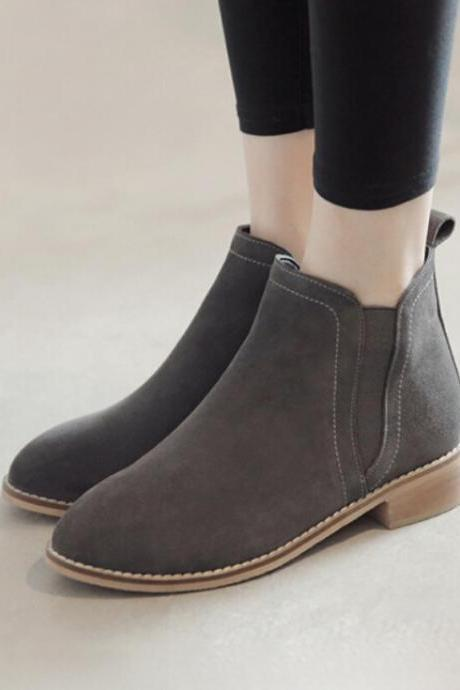 Suede Leather Ankle Chelsea Bootie , Block Heel Short Boot For Women