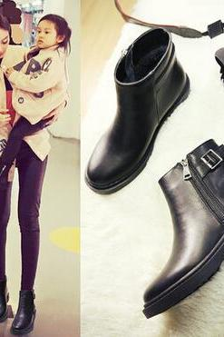 Black Leather Motorcycle Boots, Short Women Ankle Bootie With Zip Details