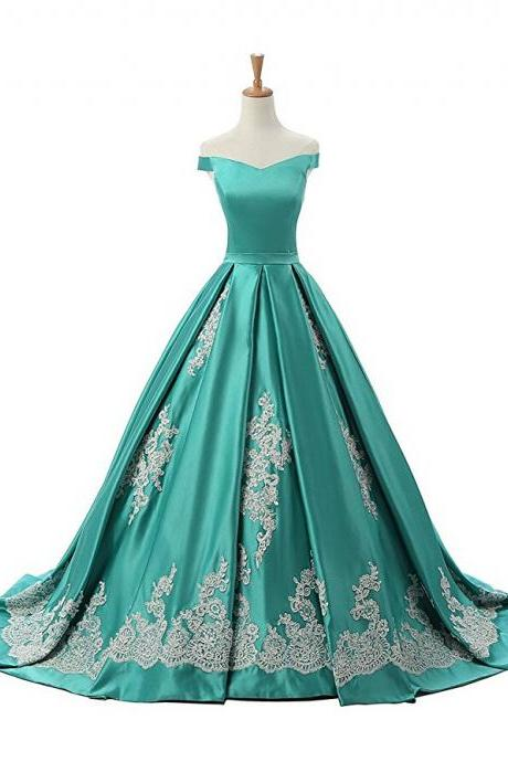 Mint Green Off The Shoulder A Line Prom Dress, Princess Prom Gown With Lace Appliques