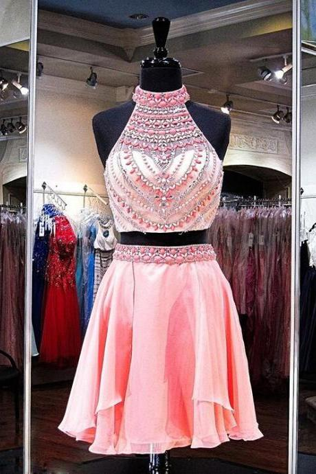 Pink Two Piece Cocktail Dress,High Neck Homecoming Dress With Beaded Crop Top