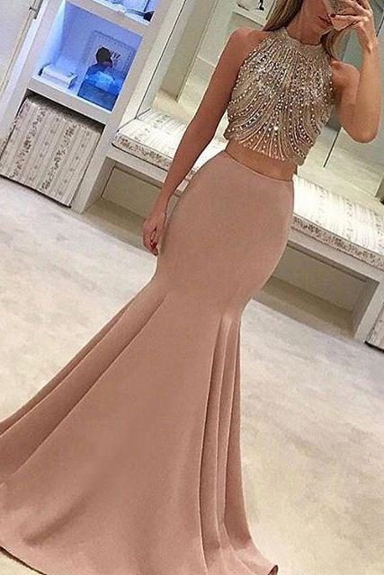 Nude High Neck Two Piece Formal Gown,Mermaid Prom Dress With Beaded Crop Top