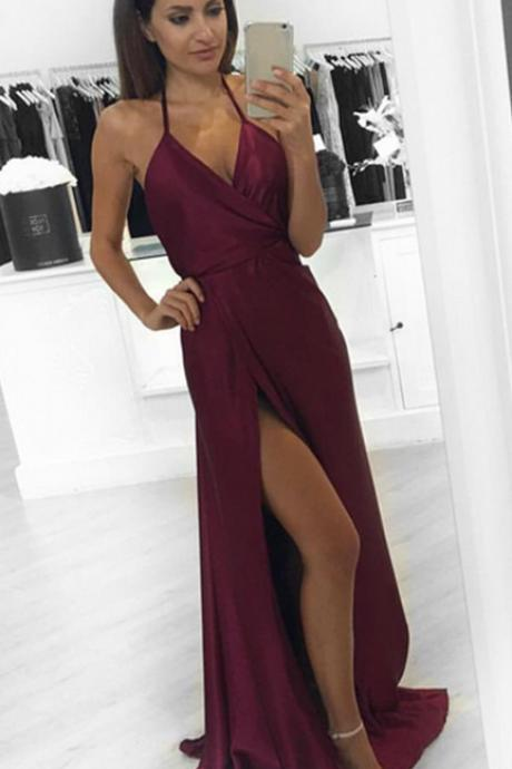 Burgundy V Neck Prom Dress, Side Slit Party Dress Long, Prom Gown Ruched Bodice