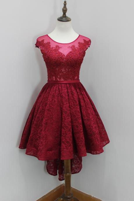 Wine Red Illusion Lace Short Dress, Cocktail Dress,Homecoming Dress Sheer Back