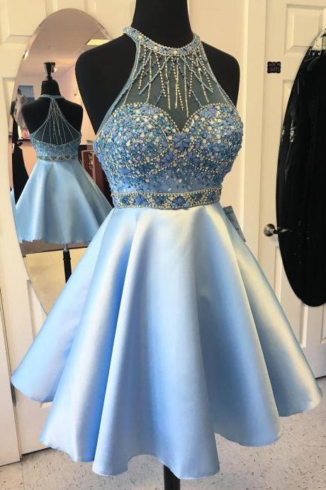 Light Blue Jewel Neck Homecoming Dress, Beaded Cocktail Dress With Sheer Back