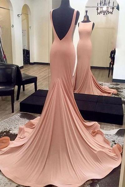 Blush Backless Formal Gown, Jersey Fitted Pageant Gown, Long Dress With Sweep Train