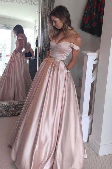2017 Pink Off The Shoulder Prom Dress, A Line Satin Formal Gown With Pockets