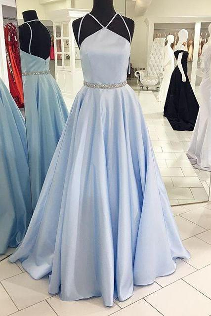Gorgeous Light Blue Halter Prom Dress, A Line Satin Evening Gown, Prom Gown Long