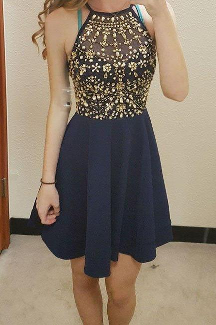 Navy Blue Halter Cocktail Dresses, Beaded Homecoming Dress, Short Dress With Crystal