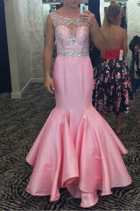 Gorgeous Beaded Pink Mermaid Prom Dress, Illusion Formal Gown With Cut Out Back