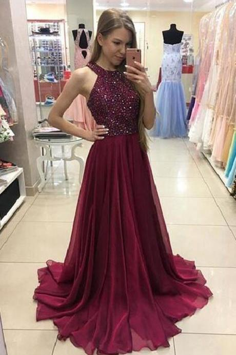Burgundy Beaded Jewel Neck Prom Dress, Chiffon Formal Gown, Party Dress Long